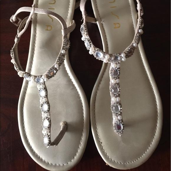 3c016206332 Women s Flat Sandals Size 11 Rhinestones n Pearls.  M 596e25457fab3ae33e007cff
