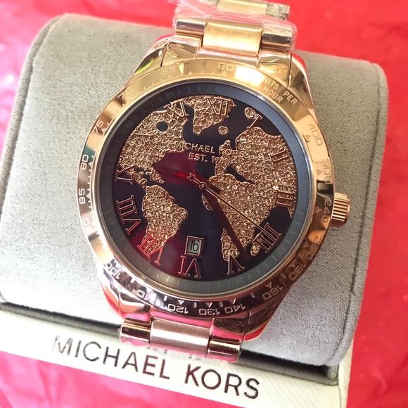 World Map Watch Michael Kors.Michael Kors Accessories On Hold Glitz World Map Watch Rose Poshmark