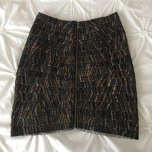 Tiered ruffle zip up mini skirt