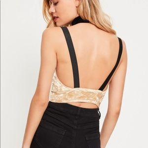 Missguided Tops - Missguided Nude Velvet Crop Top