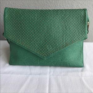 Handbags - Emerald green shoulder bag with gold studs
