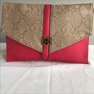 Handbags - Coral pink and grey shoulder bag