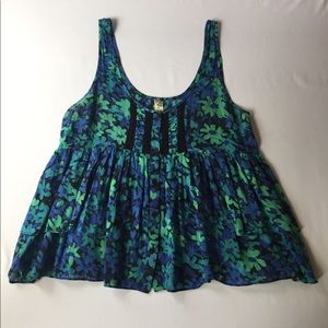 Free People Green Blue Floral Tank