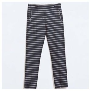Zara  Blue stripe Trousers with white piping