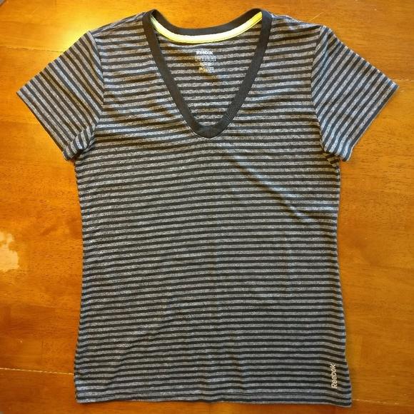 Reebok PlayDry Athletic V-Neck Striped T-Shirt