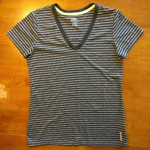 Reebok PlayDry Athletic V-Neck Striped T-Shirt