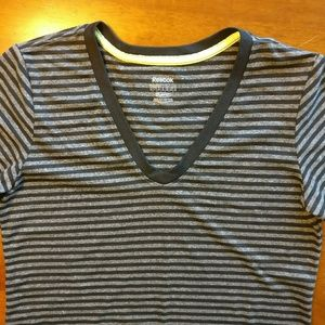 Reebok Tops - Reebok PlayDry Athletic V-Neck Striped T-Shirt