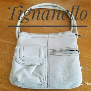 Tignanello White Pebble Leather Crossbody Bag