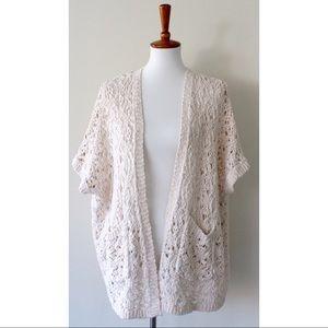 Forever 21 Fuzzy Knit Short Sleeve Cardigan