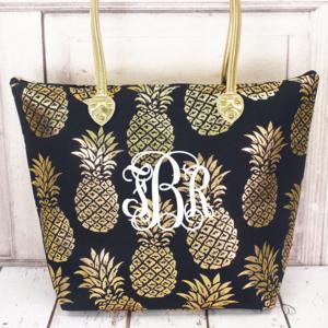 Handbags - Metallic Gold Pineapple Navy Tote (No Monogram)