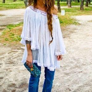 Boho Croche Cold Shoulder Top | Express