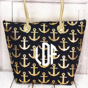 Handbags - Metallic Gold Anchor NavyTote (No Monogram)