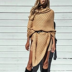 🆕 Eliani Nude Wrap Turtle Neck Poncho Sweater