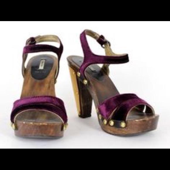 fed1592aaa3 Vintage Miu Miu Velvet Wooden Studded Platforms! M 596e580a2599fee867013e4f