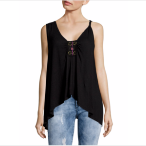 Free People Small New Vibes Black Swing Tank Top
