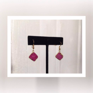 Pink & Gold Druzy Earrings