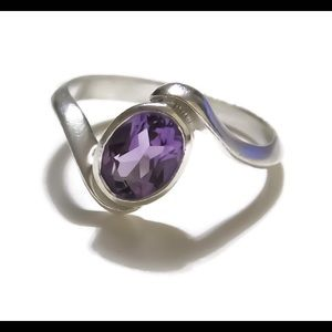 925 Sterling Silver Amethyst Bypass Ring