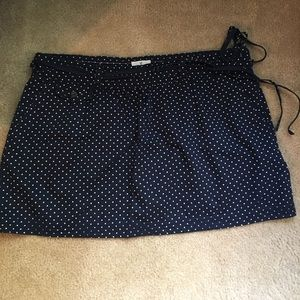 Navy and White Polka Dot American Eagle Skirt.