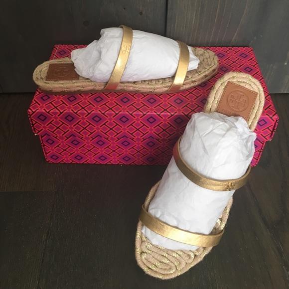 84095ff8362 Tory Burch Gold two band flat espadrille sandal. M 596e5e86c6c7950fe4029960