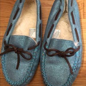 Blue glitter moccasins