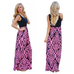 Dresses & Skirts - XL black and pink damask print long maxi dress