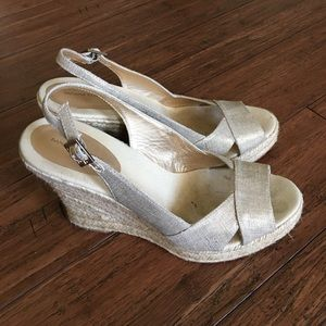 Banana Republic Metallic Espadrille Wedge Sandals