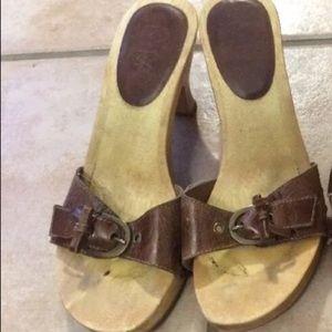 4/$50 Mia Slides sandals heels leather&wood