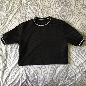 Black Quilted Crop Top