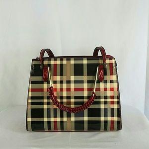 Handbags - Striped Plaid Red Shoulder Bag