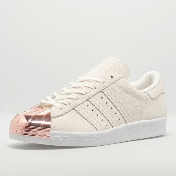 adidas superstars metal toe rose gold