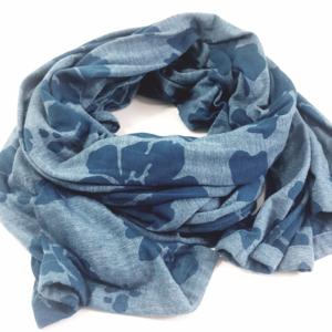 Blue Hibiscus Flower Soft Jersey Scarf
