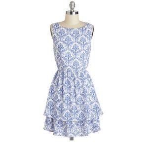 Blue & White Porcelain Style Blue Dress