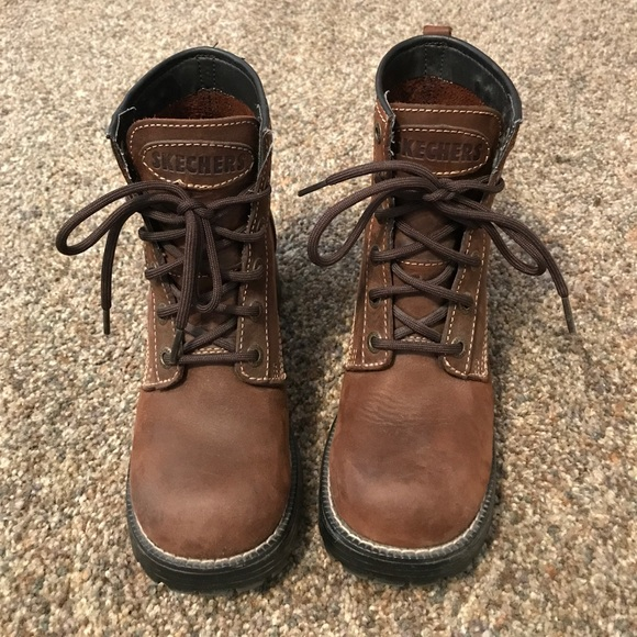 Skechers Brown Leather Lace Up Boots