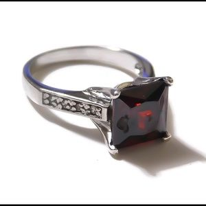 925 Sterling Silver 3CT Ruby Ring