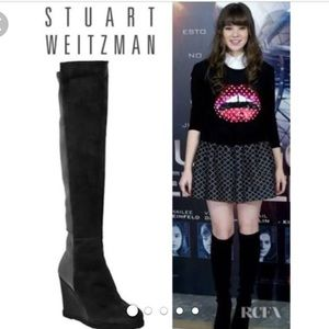 0da4a0a92c9 Stuart Weitzman Shoes - Stuart Weitzman Suede Stretch Over-Knee Wedge Boot