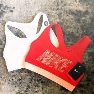 Nike Red and Orange Medium Support Sports Bra