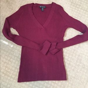 INC International Concepts Burgundy Lined Sweater