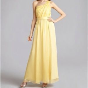 ABS by Allen Schwartz Yellow Silk Evening Gown