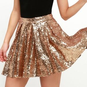 Cheers To You! Gold Sequin Skirt from LuLus.com