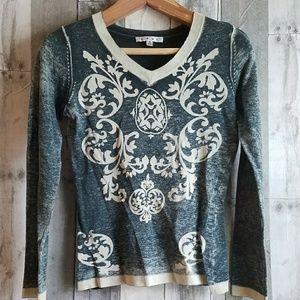 🌹EUC CABI burnout cotton cashmere blend sweater