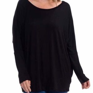 Tops - NWT Black Long Sleeve Cozy Cover Butt PLUS SIZE