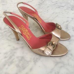 Ferragamo Metallic Embellished Sling Back Heel