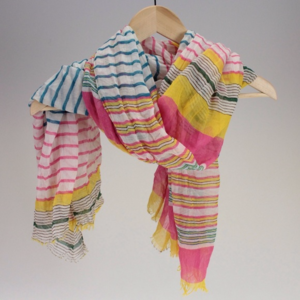 Pink and Multi-Colored Stripes Cotton Scarf