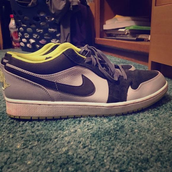 Nike Air Jordan Black/Gray/Neon Green Shoes 13