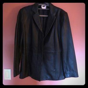 DKNY black Leather Blazer sz M