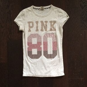 Victoria's Secret Pink Gray Bling Tee Shirt