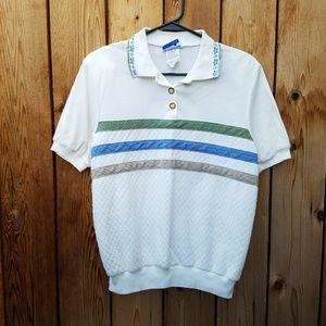 Vintage 90s White Striped Polo Top