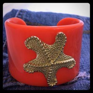 Mud Pie Cuff Bracelet Coral Starfish