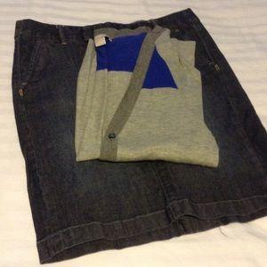 BR sweater & Converse jean skirt