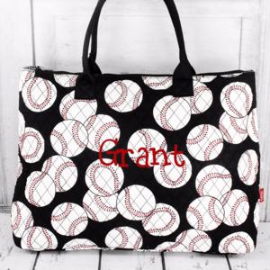 Handbags - Baseball Quilted Large Shoulder Tote